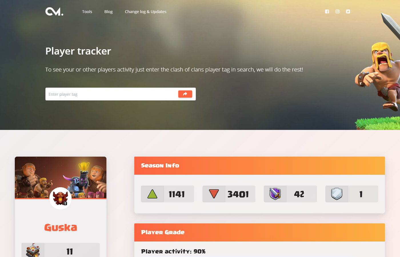 Player tracker for clash of clans